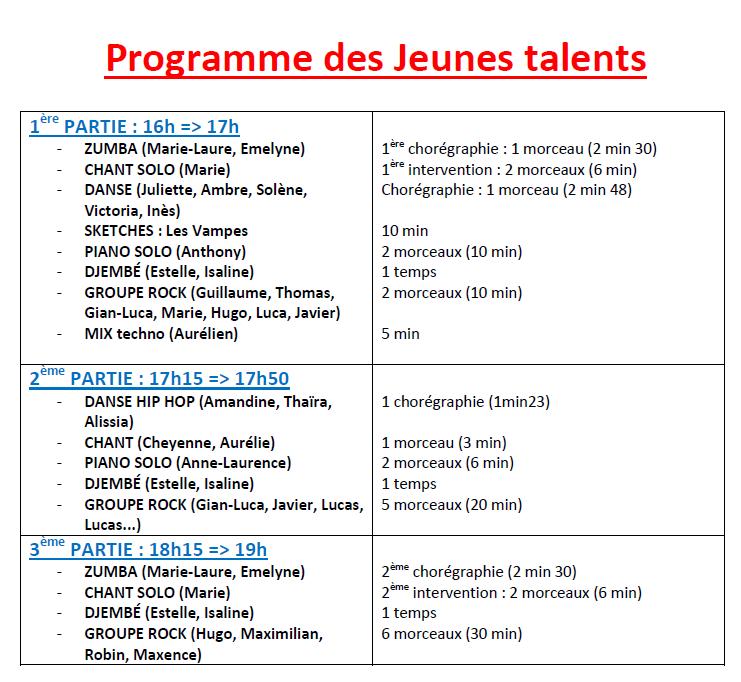 Programme et horaire de passage des jeunes talents.